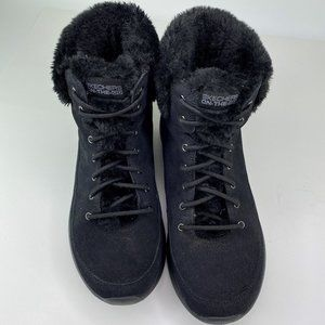 Skechers On The Go Womens Suede Black Boots